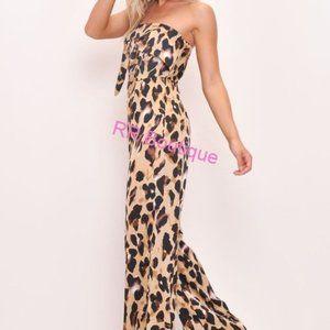 Gorgeous Strapless Front Tie Leopard Jumpsuit